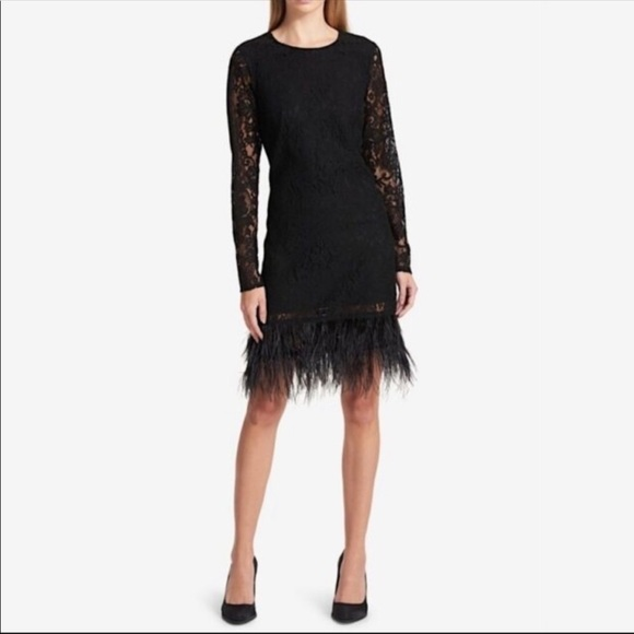 SOLD DKNY Lace Real Feather Fringe Hem Black Dress